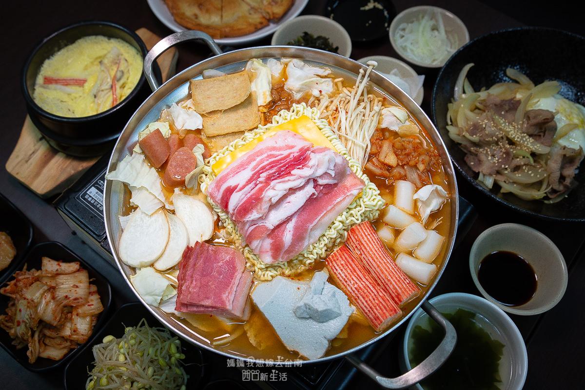 【台南韓式料理】冬天就是要吃部隊火鍋!! 最愛濃郁起司沾著麵條~韓善宮韓式料理